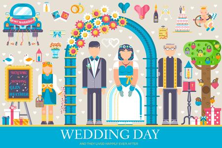 Flat wedding illustration thin line icon set. Vector happy marriage concept