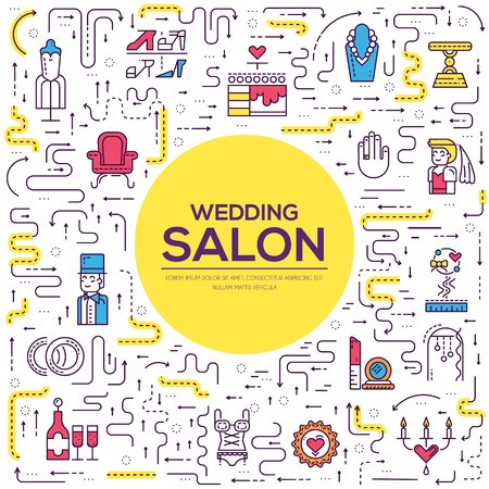 thin line people choosing dress arranging the wedding in salon. Woman in wedding salon flat outline concept design