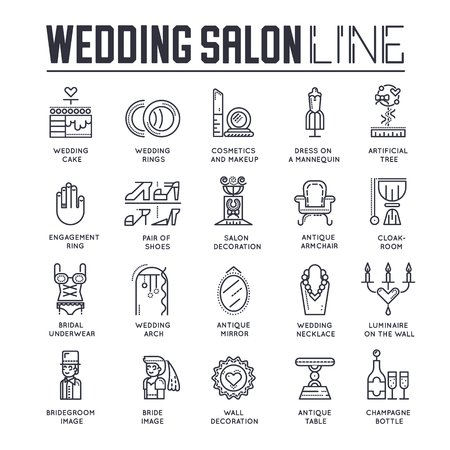 thin line people choosing dress arranging the wedding in salon. Woman in wedding salon flat outline concept design illustration.