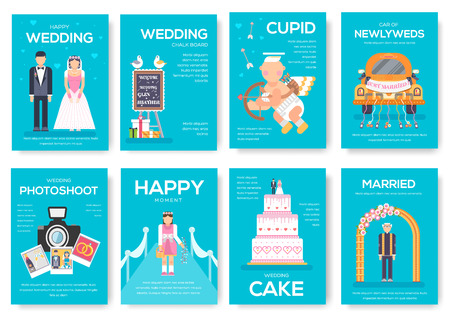 Wedding day vector brochure cards set. Marriage sign template of flyear, magazines, poster, book cover, banners. Happy time invitation concept background. Layout illustrations modern page