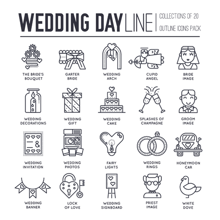 Flat wedding illustration thin line icon set. Vector happy marriage outline concept background