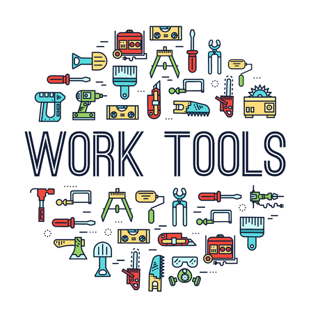 Circle of working tools icons items design. Construction instruments with any elements set. Diy, building, work outline illustrations vector background. Process image on thin line style concept Standard-Bild - 99824041