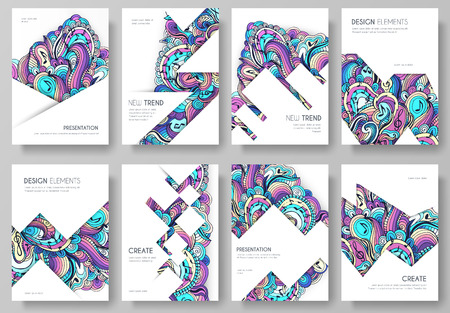 Abstract vector brochure cards set. Print art template of flyear, magazines, posters, book cover, banners. Colorful design invitation concept background. Layout ornament illustrations modern page