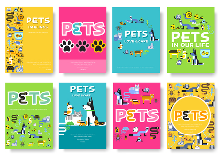 Animal vector brochure cards set. Home pets template of flyear, magazines, posters, book cover, banners. Wildlife invitation concept background. Layout domestic illustrations modern page
