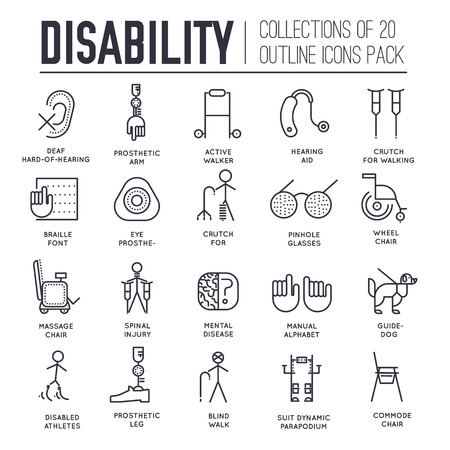 Care people with disabled thin line illustration concept. Flat outline world disability day icons set illustrations. Vector elements for mans help background