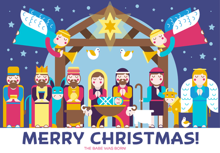 Merry Christmas icons flat set background. Vector birth of Christ illustration background concept. Illustration