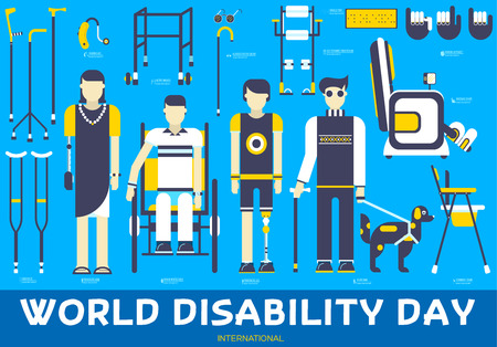 Care people with disabled illustration concept. Flat World disability day icons set illustrations. Vector elements for mans help background