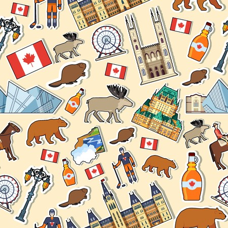 Country Canada travel vacation places and features. Set of architecture, fashion, people, items, nature background concept. Infographic template design on sticker seamless pattern