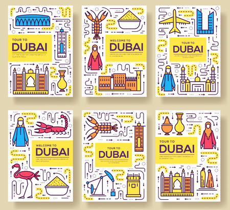 Dubai vector brochure cards thin line set. Country travel template of flyear, magazines, posters, book cover, banners. Layout culture monument outline illustrations modern pages