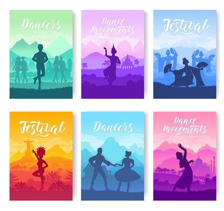 Traditionelle Tänze aus aller Welt Broschüren Karten gesetzt. Kulturelle Tänzer Stile Vorlage von Flyear, Zeitschriften, Poster, Bücher, Einladungsbanner. Modernes Design des Reisefestival-Layouts
