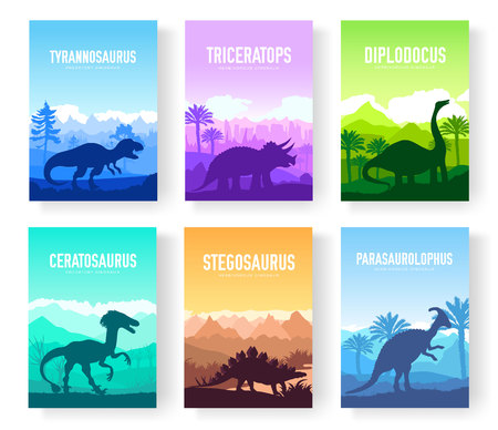 Brochures with set of colorful primitive dinosaurs. Carnivorous predator animals before BC. Template of magazines, poster, book cover, banners. Landscape invitation concept