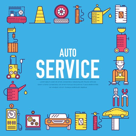 auto service with text concept. Thin line icons with flat background design. Worker mechanic repairs a car on the garage. Vehicle station with workshop tools 矢量图像