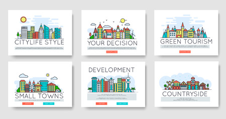 Set of city skylines and suburban different buildings in skyline. Thin line vector illustration design concept Иллюстрация