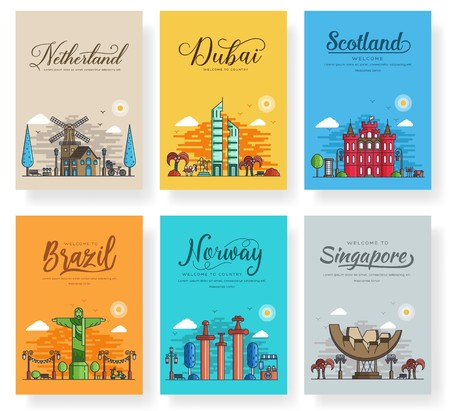 Set of outline different cities for travel destinations. landmarks culture banner template of flyer, magazines, posters, book cover, banners. Layout world architectural thin line modern pages