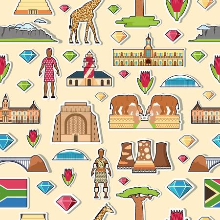 Land Zuid-Afrika reizen vakantieplaatsen en is voorzien van stickers. Set van architectuur, mode, mensen, items, natuur achtergrond concept. Infographic sjabloonontwerp op naadloos