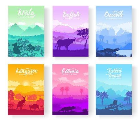 Australian animals in the natural habitat on brochure. Colorful flyers with Wildlife in nature. Template of magazines, poster, book cover, banners. Landscape invitation concept background