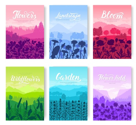 Beautiful flowers on the mountainside vector brochure cards set. Summer nature template of flyear, magazines, poster, books, banners. Flora on hill invitation concept. Layout modern