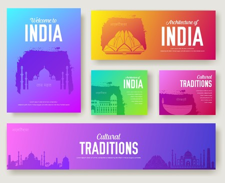 Set of India cultural country and landmarks ornament illustration concept. Art traditional, book, poster, abstract, ottoman motifs, element. Vector indian decorative ethnic greeting card