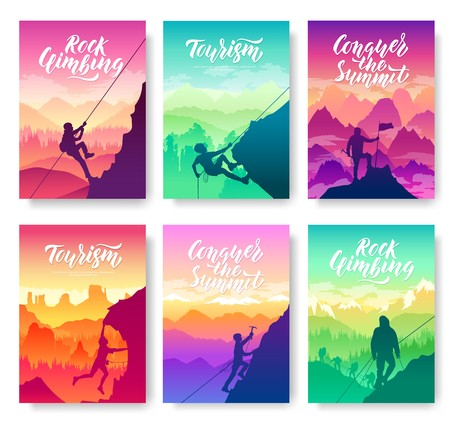climber climbs the mountain brochure cards set. Extreme lifestyle of rock climbers template of flyear, magazines, poster, books, invitation banners. Tourist hiking layout modern design booklet