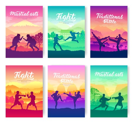Representatives of traditional fighters from all over the world  brochure cards set. Fighting style battle nature template of flyear, magazines, poster, books, invitation banners. Layout modern page