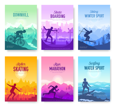 colorful covers with various sports rest day vector brochure cards set. Extreme on nature template of flyear, magazines, poster, books, banners. Active lifestyle invitation concept