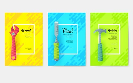 different construction company brochure cards. Working tools template of flyear, magazines, posters, book cover, banners. Colorful diy, building, work set background. Layout icons
