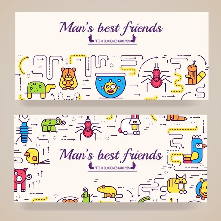 Animal vector brochure cards thin line set. Cute home pets template of flyear, posters, book cover, banners. Layout domestic wildlife  outline illustrations modern pages