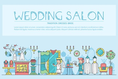 thin line people choosing dress arranging the wedding in salon. Woman in wedding salon flat outline concept design illustration