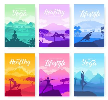 Exercice de yoga au sommet des montagnes en pleine nature. Mode de vie sain pour les belles filles. Conception de sport pour affiche, magazine, brochure, livret Vecteurs