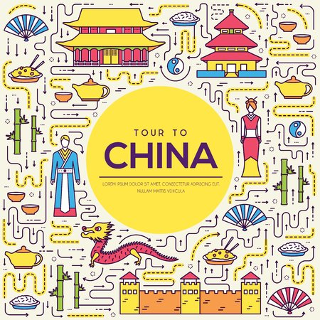 Country China travel vacation guide of goods, place and feature. Set of architecture, fashion, people, item, nature background concept. Infographic traditional ethnic flat, outline, thin line icon. Ilustrace