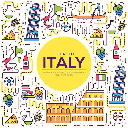 Paese Italia viaggio vacanza guida di merci, luogo e caratteristica. Insieme di architettura, moda, persone, oggetto, concetto di sfondo. Piatto etnico tradizionale infografica, contorno, icona linea sottile.