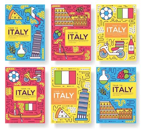 Italia vector folleto tarjetas conjunto de línea fina. Plantilla de viaje de país de flyear, revistas, carteles, portada de libro, pancartas. Diseño cultura monumento contorno ilustraciones páginas modernas