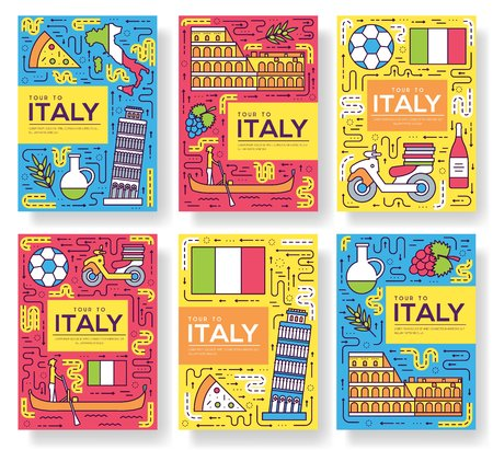 Italy vector brochure cards thin line set. Country travel template of flyear, magazines, posters, book cover, banners. Layout culture monument outline illustrations modern pages Ilustração
