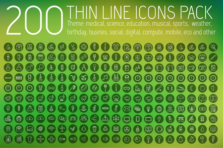 set of thin line icons pictogram. For web and mobile infographic. Happy birthday, business, ofiice, digital, eco, sport, education, music, whether, medical theme. Vector illustration design