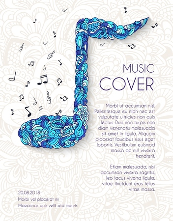 Hand drawn art abstract musical notes background. Vector illustration concept design Иллюстрация