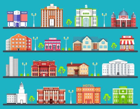 Flat colorful city buildings set. Icon background concept design. Architecture construction: courthouse, home, museum, skyscraper, hospital, hotel, opera, theater. Vector urban landscape