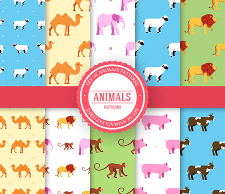collection set of animal seamless pattern. Lion, monkey, camel, elephant, cow, pig, sheep with label logo concept. Vector illustration design with ottoman motif traditional background