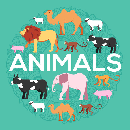 animal round concept of lion, monkey, camel, elephant, cow, pig, sheep. Vector illustration background design with ottoman motif  traditional