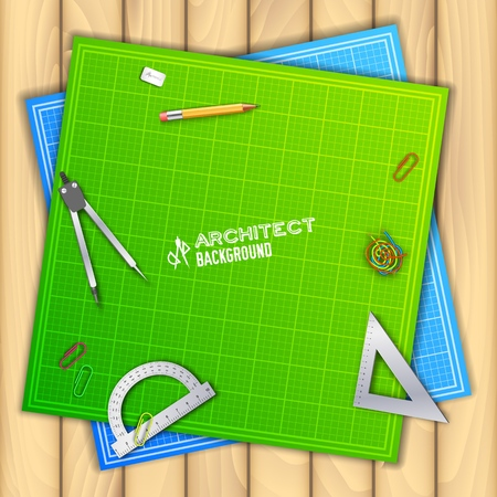 Architect wood table project with professional equipment background concept. Vector Illustration