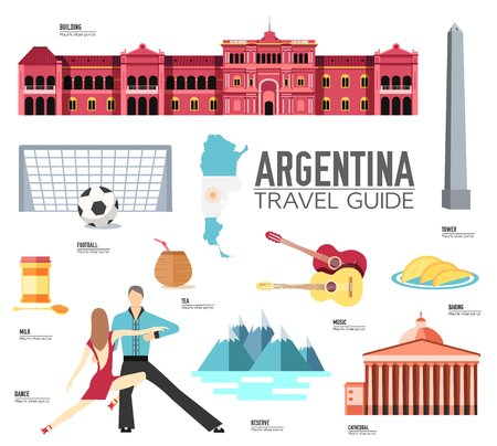 Country Argentina travel vacation guide of goods, places and features. Set of architecture, fashion, people, items or nature background concept. Infographic template design for web and mobile Illustration