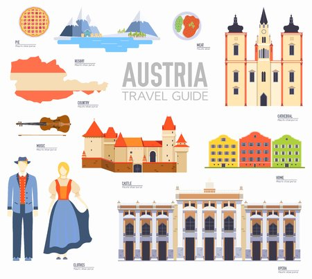 Country Austria travel vacation guide of goods, places and features. Set of architecture, people, culture, icons background concept. Infographics template design for web and mobile. On flat style Ilustração
