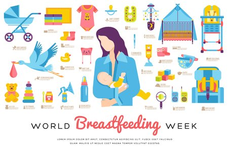 World breastfeeding week and kids elements flat icon set concept. Child illustrations design