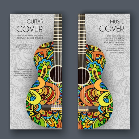 Abstract retro music guitar on the banners of the ornament. Vector illustration concept design