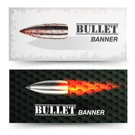 Banner of flying bullet ob military background concept. Danger vector illustration design set