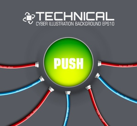 technical button push with wire background. Vector illustration design