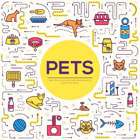 Vector thin line breed cats icons set. Cute outline animal illustrations pet design. Collection different kitten layout flat cover.