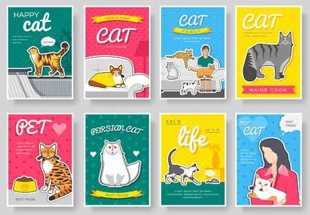 breed cats  thin line brochure cards set. Animal traditional template of flyear, magazines, posters, book cover, banners. kitten outline invitation concept background. Layout quality modern pages