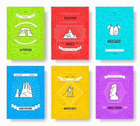 Chile vector brochure cards thin line set. Country travel template of flyear, magazines, posters, book cover, banners. Layout culture monument outline illustrations modern pages.