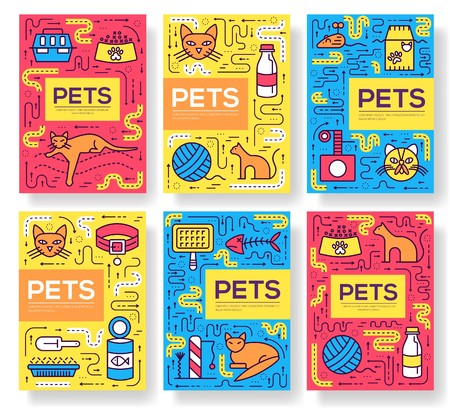 Breed cats vector brochure cards thin line set. Cute animal template of flyear, magazines, posters, book cover, banners. Layout different kitten outline illustrations modern pages. Reklamní fotografie