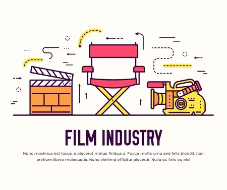 Premium quality cinema industry thin line design set. Filming minimalistic symbol infographic. Outline movie technology template of icon, typography, logo, pictogram and illustration concept . Imagens - 112591906